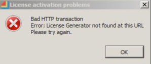 Bad HTTP transaction. Error: License Generator not found at this URL. Please try again.